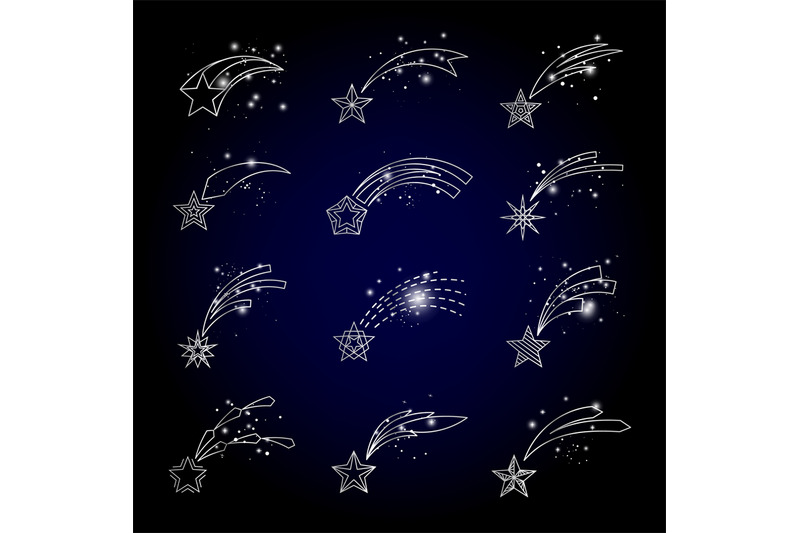 vector-shooting-stars-linear-icons