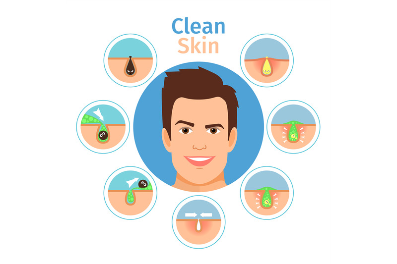 male-facial-clean-skin-illustration