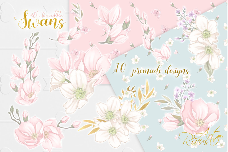 swans-clipart-bundle-wedding-and-baby-shower-graphic-pack