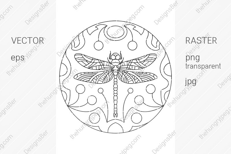 coloring-page-with-animals-dragonfly