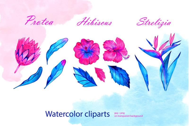 watercolor-neon-tropical-flowers