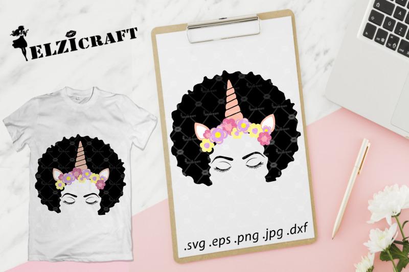 afro-woman-face-afro-hair-makeup-unicorn-flower-svg-cut-file