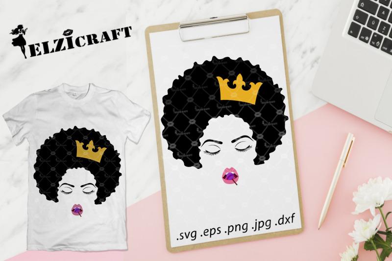 afro-woman-face-afro-hair-makeup-lips-lollipop-crown-svg-cut-file