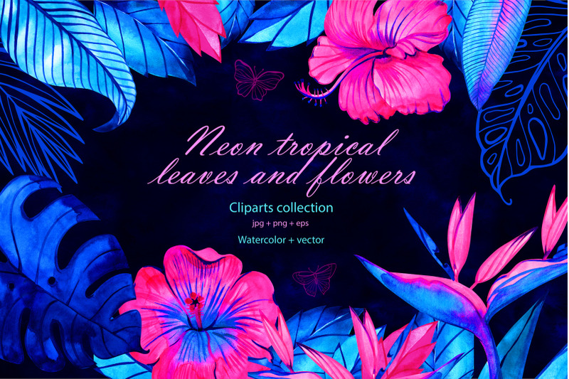 neon-tropical-flowers-and-leaves