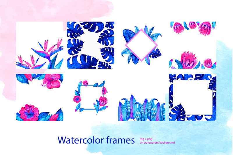 neon-tropical-wreaths-and-frames