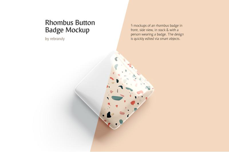 Free Rhombus Button Badge Mockup (PSD Mockups)