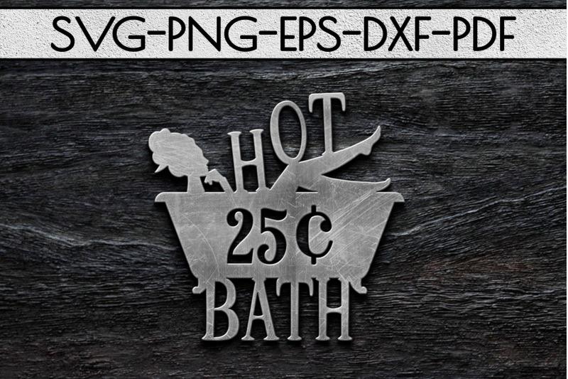 hot-bath-sign-papercut-template-bathroom-decor-svg-pdf