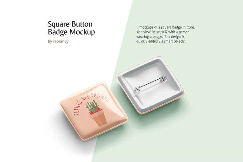 Free Square Button Badge Mockup (PSD Mockups)