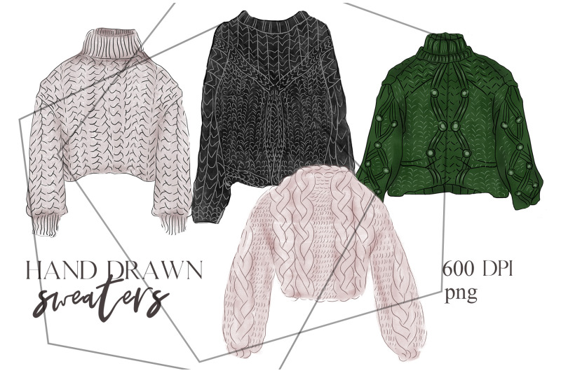 hand-drawn-winter-autumn-clothes-set-knitted-sweaters