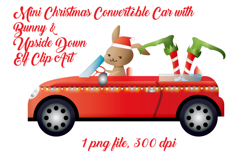 mini-christmas-convertible-car-with-bunny-and-elf-legs