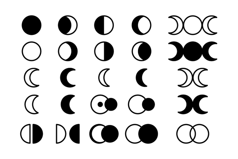 moon-cycle-icons-clip-art-set