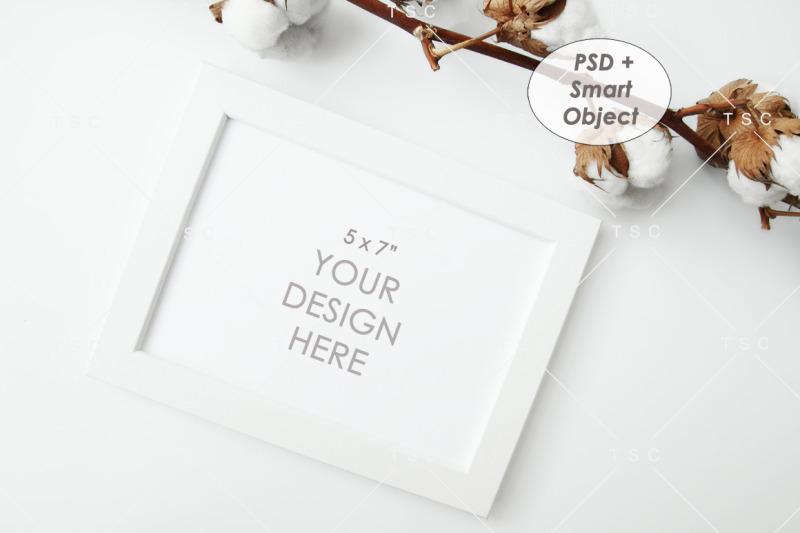Free 5 x 7 White Frame Mockup (PSD Mockups)