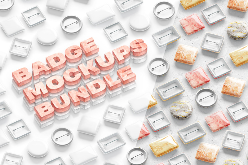 Free Button Badge Mockups Bundle (PSD Mockups)