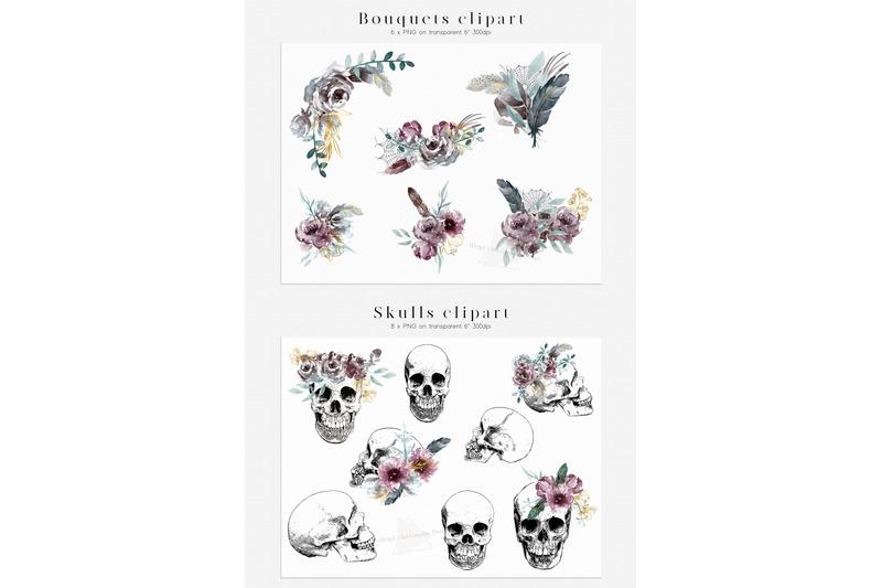 halloween-design-bundle-skulls-and-flowers-clipart