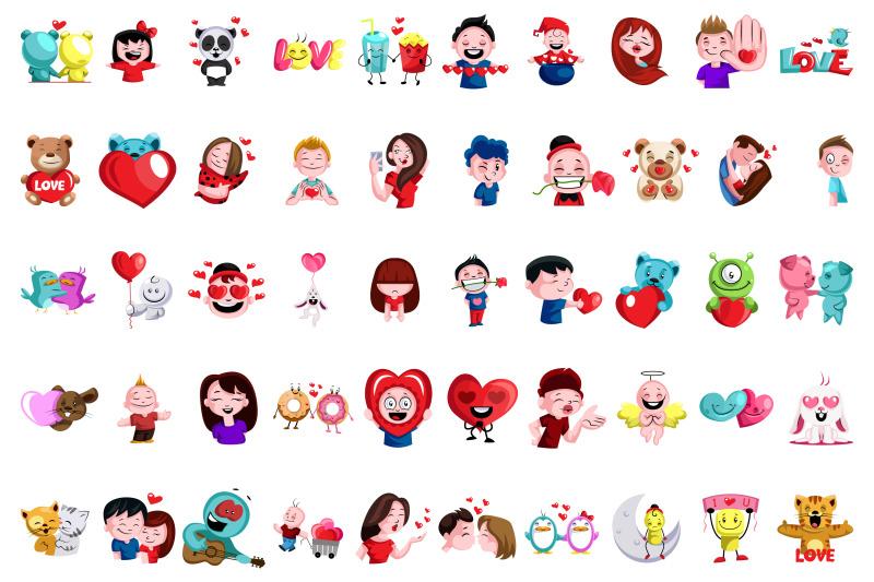 50x-love-stickers-and-emoticon-expressions-illustrations