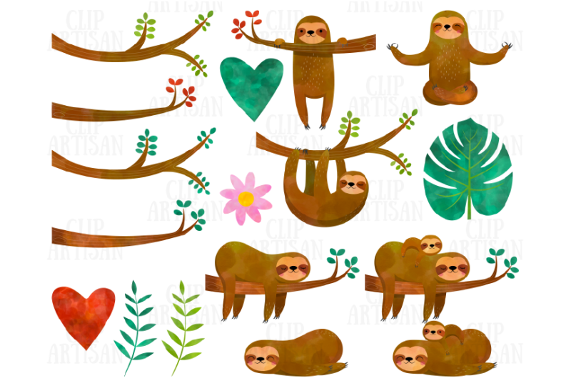 watercolor-sloths-clipart