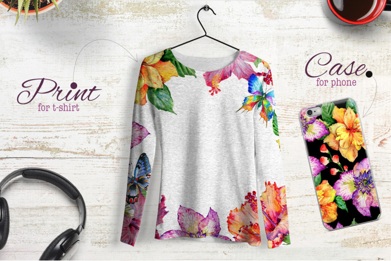 ibiscus-png-watercolor-flower-set