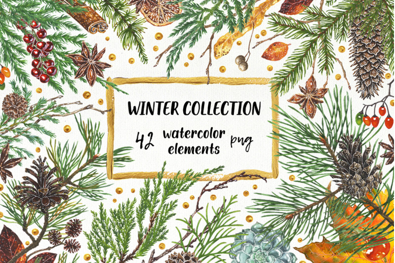 winter-collection-watercolor-elements-for-greeting-cards