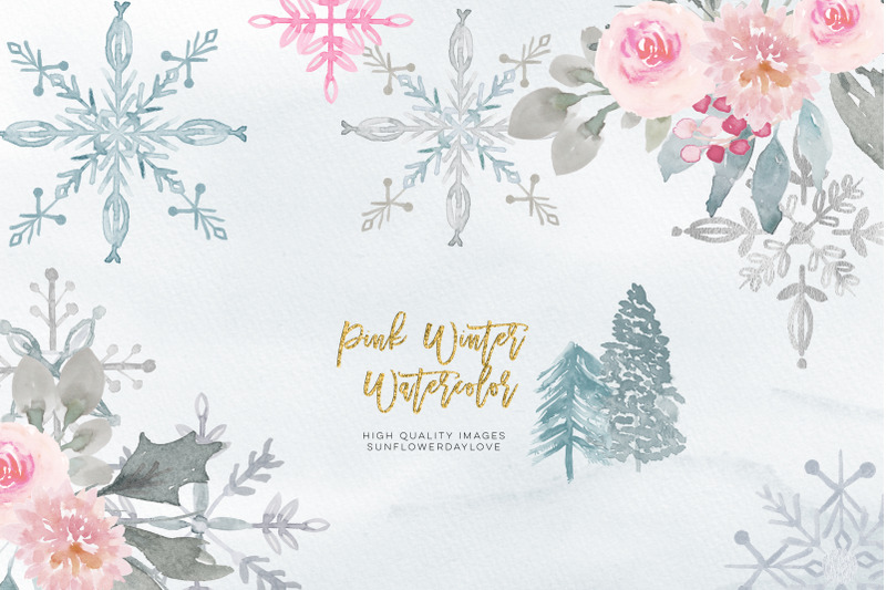 pink-christmas-clipart-floral-pink-watercolor-clipart