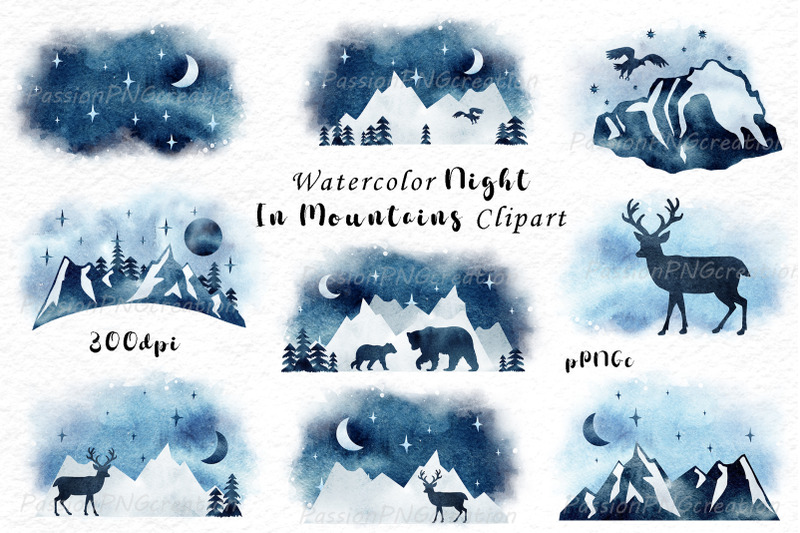 watercolor-night-in-mountains-clipart