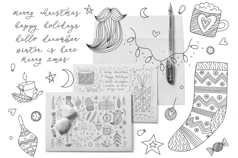 christmas-doodle-line-art-winter-set