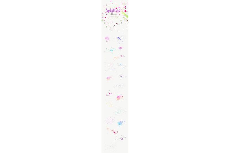 watercolor-paint-brush-splatters-grunge-spray-ink-splashes