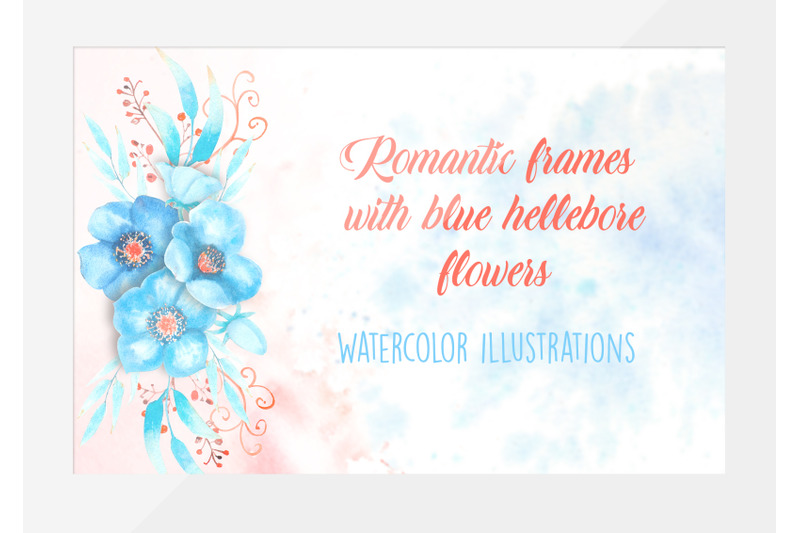 romantic-frames-with-blue-hellebore-flowers