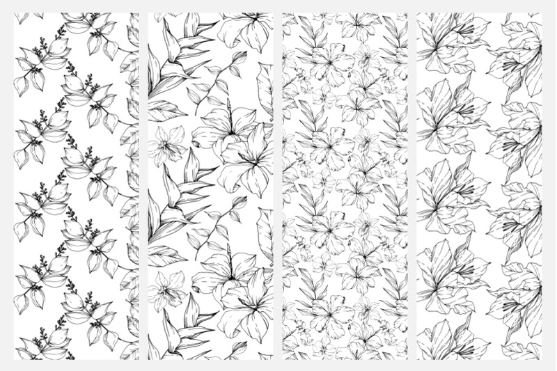 vector-tropical-leaves-and-flowers