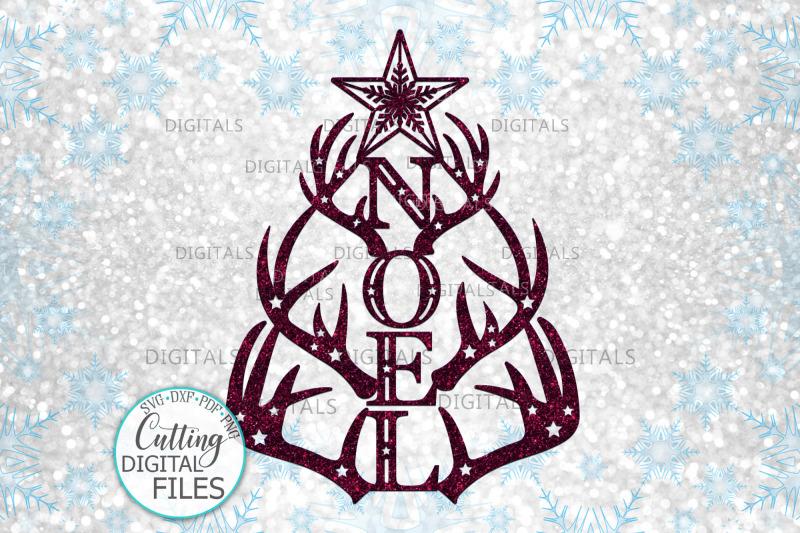 christmas-tree-noel-with-deer-antlers-laser-cut-out-svg-png