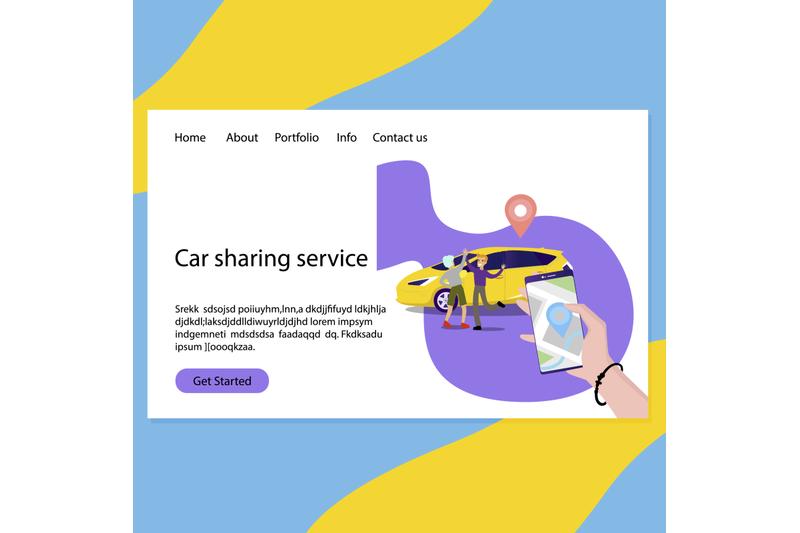 Free Car sharing service web page landing (PSD Mockups)