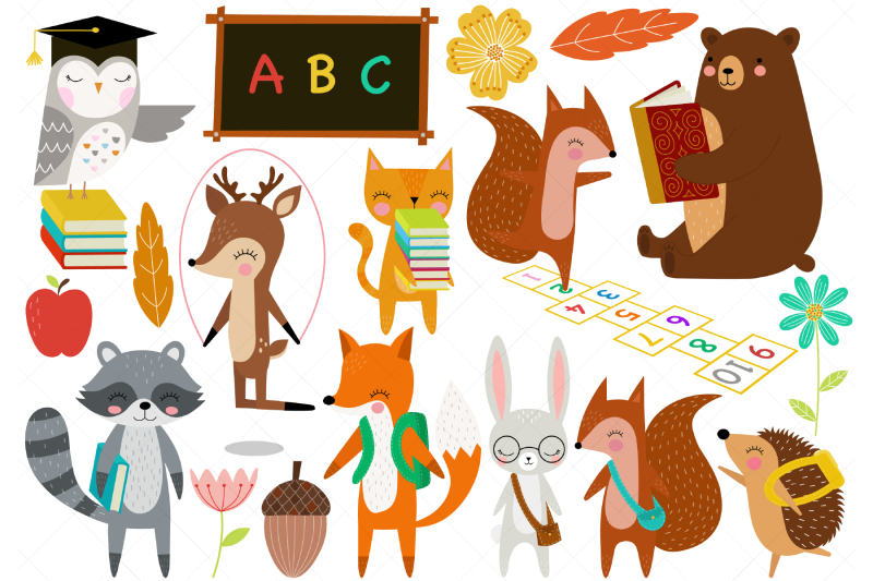 woodland-animals-back-to-school-clip-art
