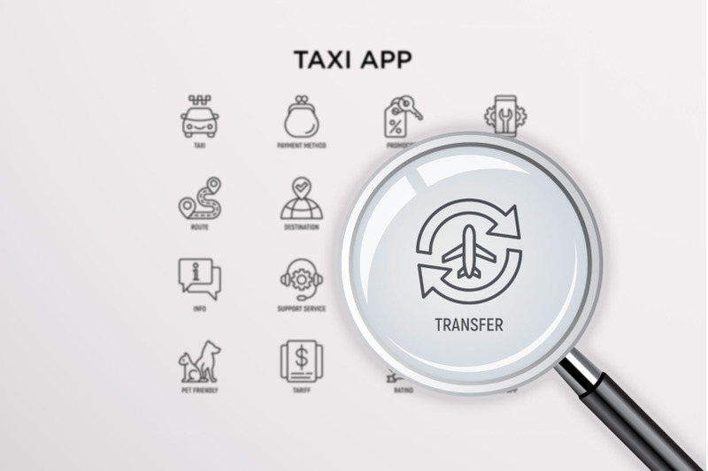 taxi-service-16-thin-line-icons-set