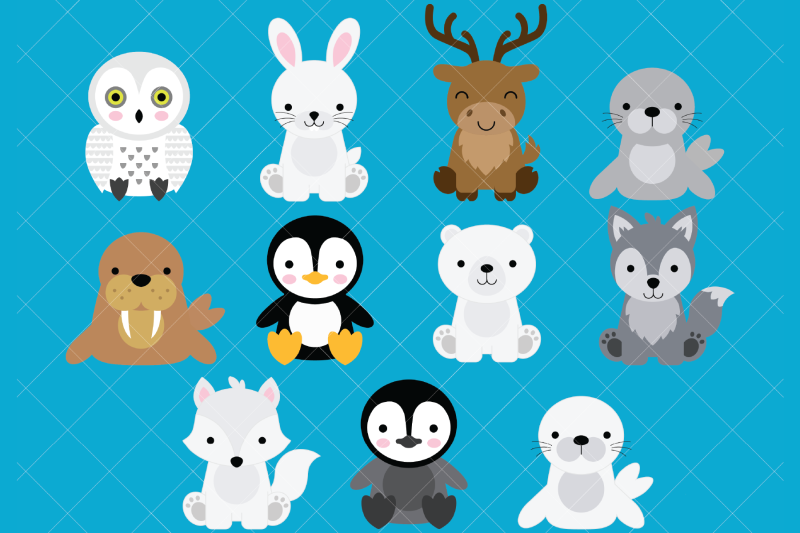 arctic-animals-clip-art-polar-bear-penguin