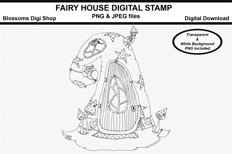 fairy-house-digital-stamp
