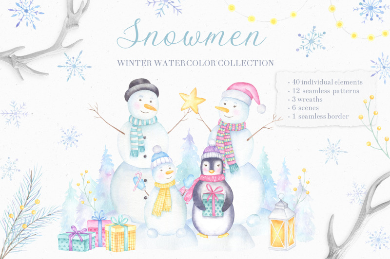snowmen-watercolor-collection-of-cliparts-and-patterns