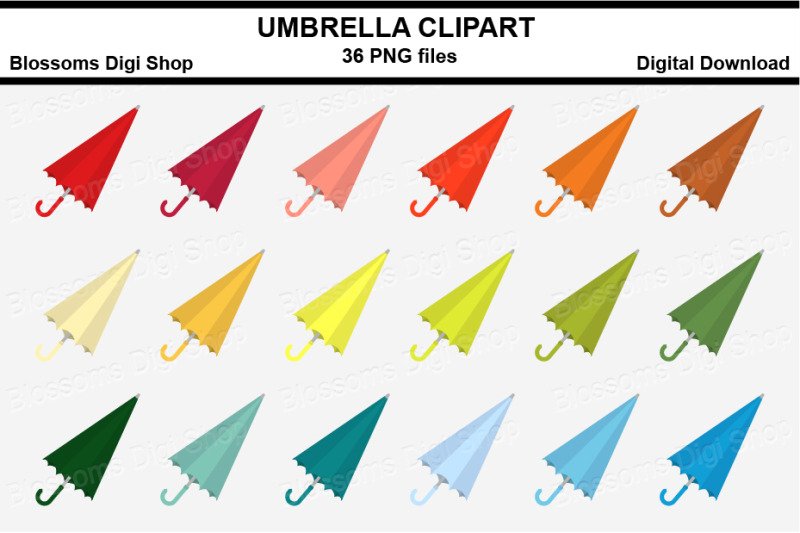 umbrella-sticker-clipart-36-files-multi-colours