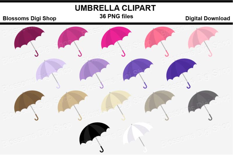 umbrella-sticker-clipart-36-files-multi-colours