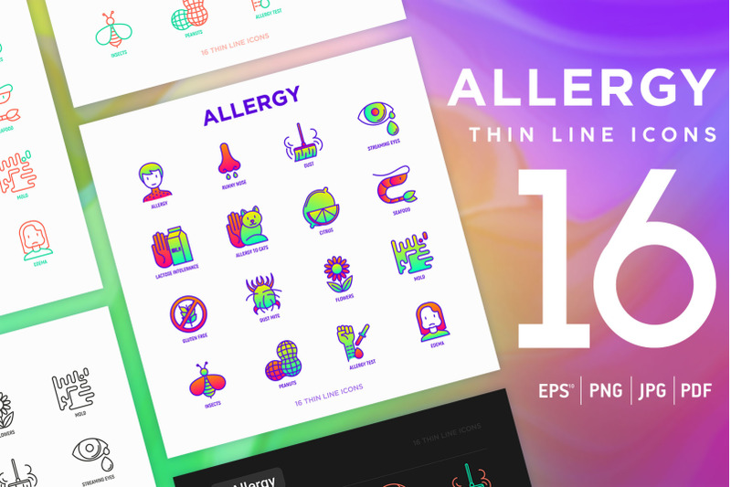 allergy-16-thin-line-icons-set
