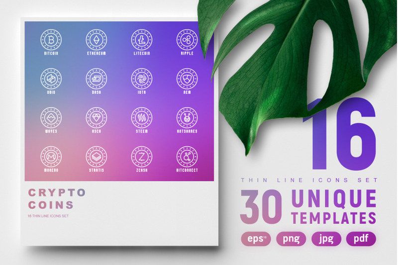 crypto-coins-16-thin-line-icons-set-30-unique-templates