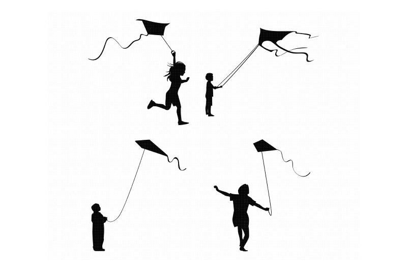 little-boy-and-girl-fly-a-kite-svg-dxf-vector-eps-clipart-cricut