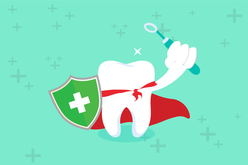 healthy-tooth-with-dental-and-shield