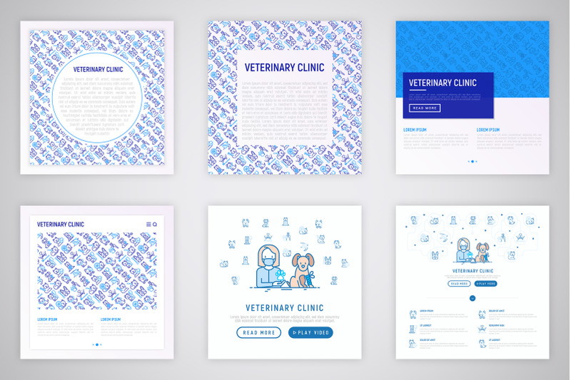 veterinary-clinic-thin-line-icons-set-concept