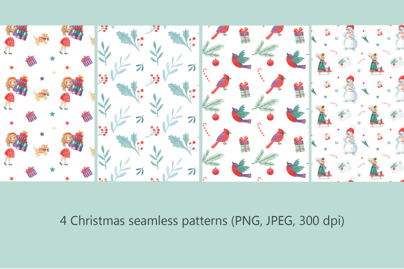 christmas-watercolor-seamless-patterns