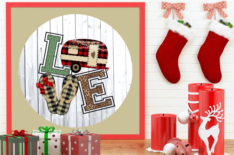flip-flop-love-christmas-camper-round-door-hanger-clipart
