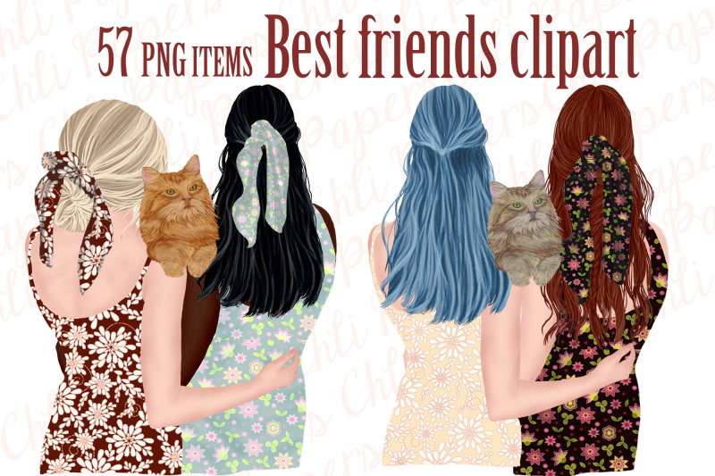 best-friends-clipart-girls-and-cats-cat-clipart