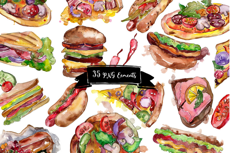 fast-food-hot-dog-watercolor-png