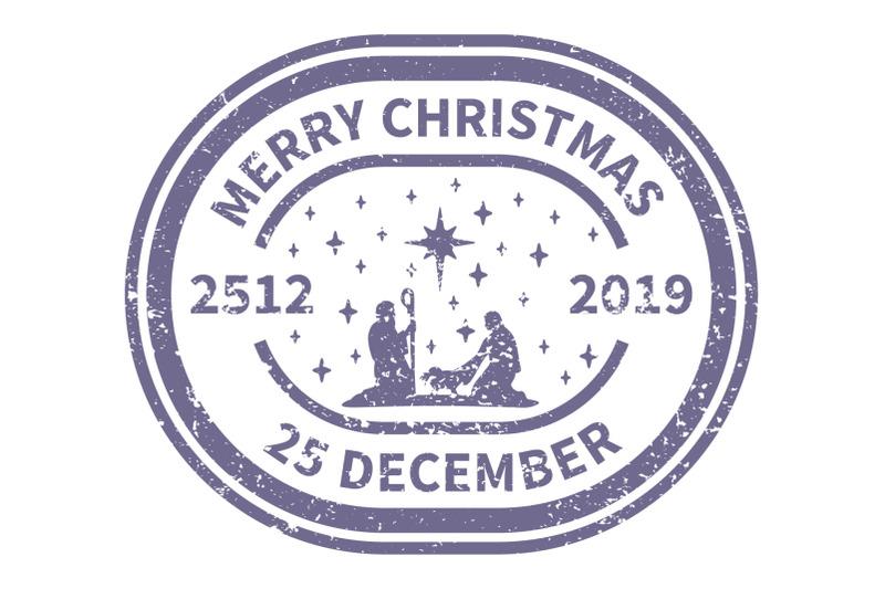 christmas-blue-postal-stamp