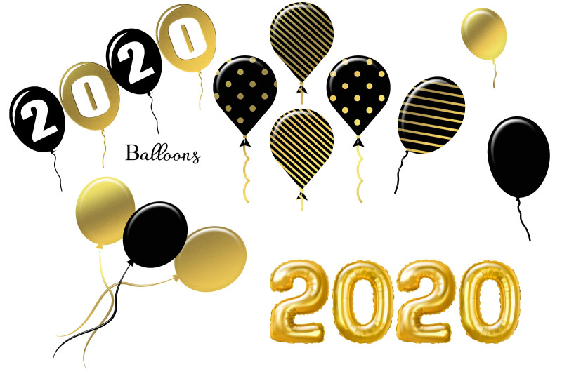 new-year-black-and-gold-2020-clip-art