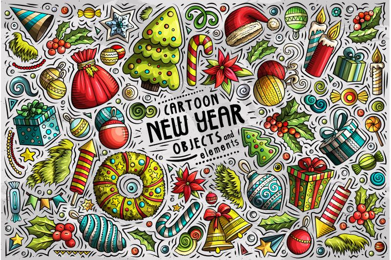 new-year-cartoon-objects-set