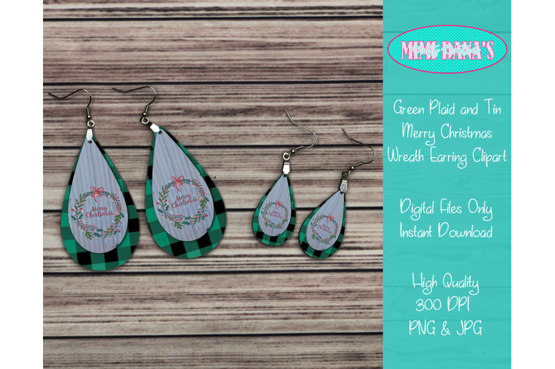 green-plaid-and-tin-merry-christmas-wreath-earring-clipart
